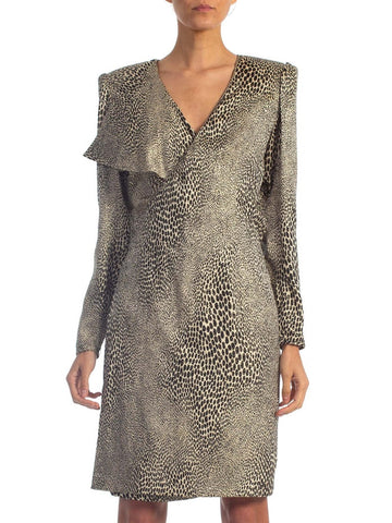 1980s EMANUEL UNGARO Metallic Silk Lamé Cheetah Print Cocktail Dress
