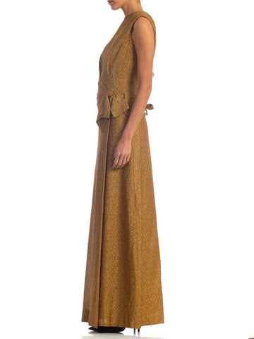 1960S WORTH OF PARIS Gold Metallic Acetate/Lurex Jersey Demi Couture Gown