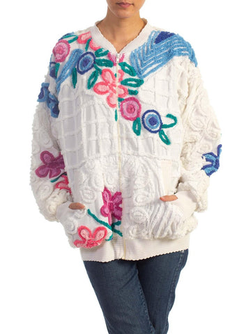 1970S Hand Embroidered Cotton Jacket Made From Vintage 1940S Chenille