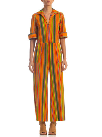 1970S Multicolor Poly/Cotton Terry Cloth Jumpsuit