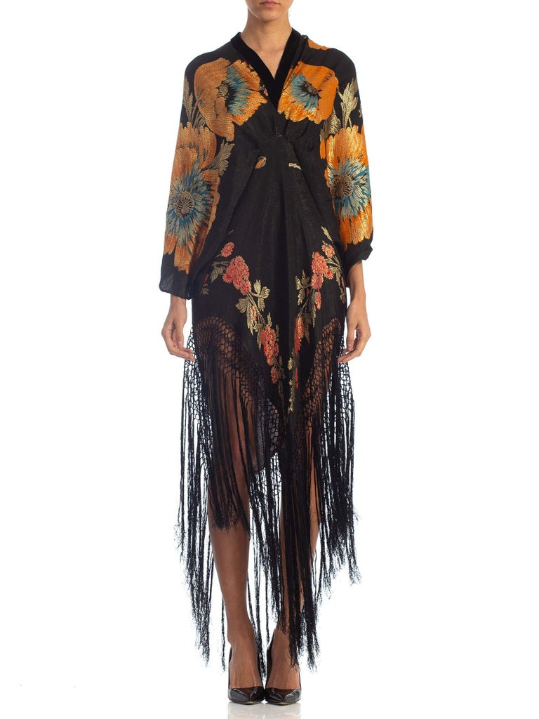 1920s Morphew Floral Gold Lamé Silk Tunic Dress With Fringe