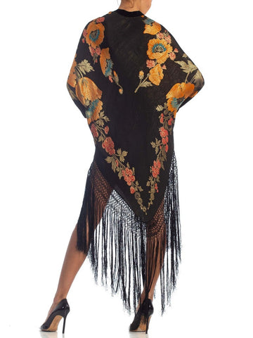 Morphew Collection Floral Gold Lamé Silk Tunic Dress With Fringe
