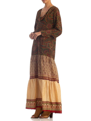 Morphew Collection Boho Long Sleeve Maxi Dress Made From Antique 1920S & 1970S Fabrics