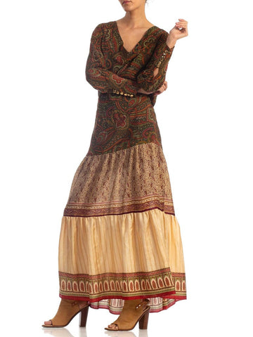 Morphew Collection Silk Dress Made From Antique 1920s & 1970s Fabrics