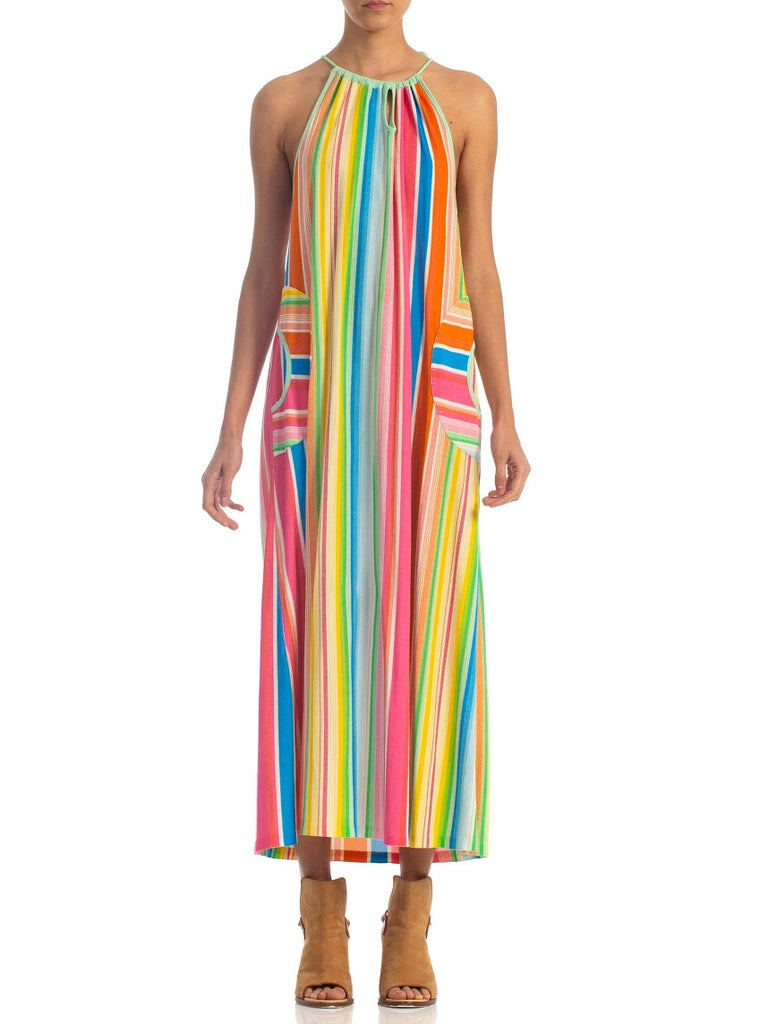 1970S Rainbow Poly/Cotton Terry Cloth Dress With Circle Pockets