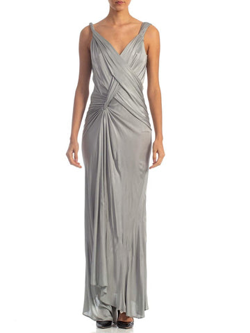 2000s John Galliano Dove Grey Rayon Jersey Backless Gown With Slit and slight as-is