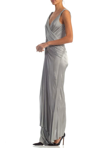 2000S JOHN GALLIANO Dove Grey Rayon Jersey Backless Gown With Slit