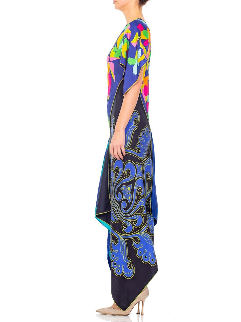 MORPHEW COLLECTION Psychedelic Aqua & Pink Bias Cut Kaftan Dress Made From 1970'S Silk Scarves
