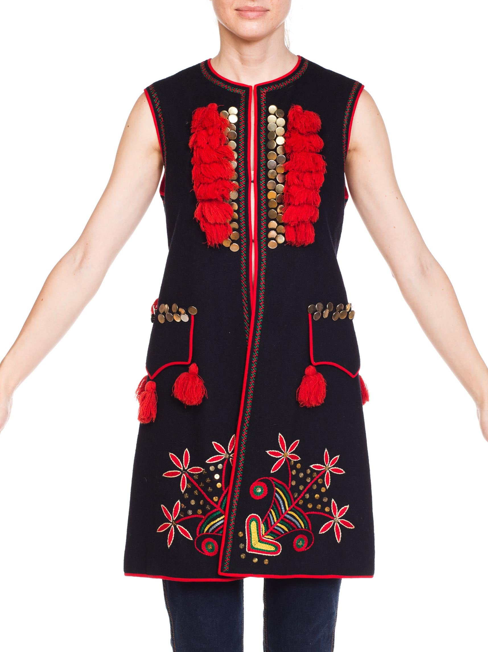 1970S Boho Ethnic Embroiderd Vest With Buttons And Tassels