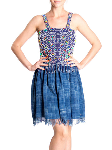 Morphew Lab 1960s Plastic Beaded Hand-Dyed Indigo Fringed Skirt Backless Fit and Flare Dress