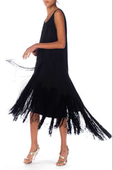 1920s Black Silk Dress With Fringe Skirt