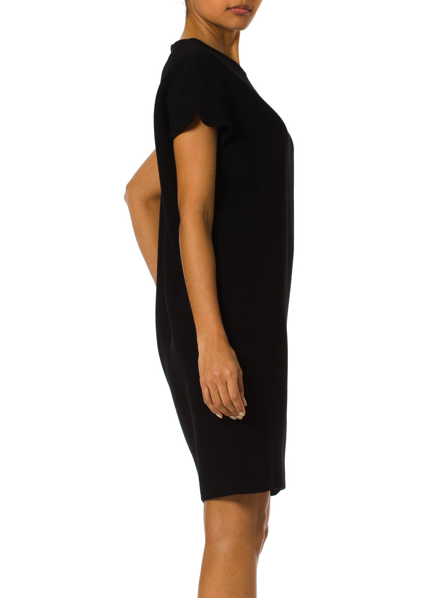 1990S GIANNI VERSACE Black Silk & Wool Crepe Ottoman Minimal Day To Night Mod Shift Dress