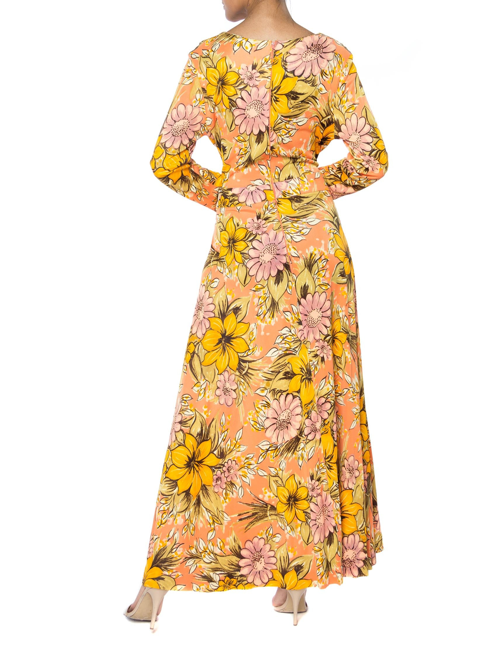 1960S AVALON Orange Polyester Long Floral Print Dress