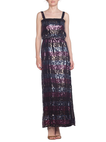 Black Grey Magenta Sequined Striped Gown