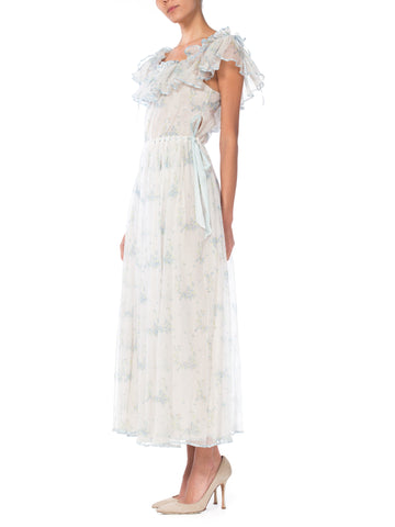 1970S Pale Blue Floral Printed Cotton Tulle Ruffled Maxi Dress Lined In Silk