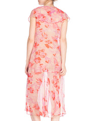 1920s Pink Floral Silk Chiffon Drop Waist Day Dress