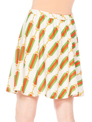 1970S Jantzen Polyester Gucci Belt Status Print Tennis Mini Skirt With Elastic Waist