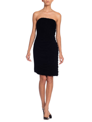 Bruce Oldfield For Henri Bendel Strapless Draped Velvet Corset Dress