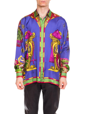 1990s Gianni Versace Men's Renaissance Science printed Silk Shirt