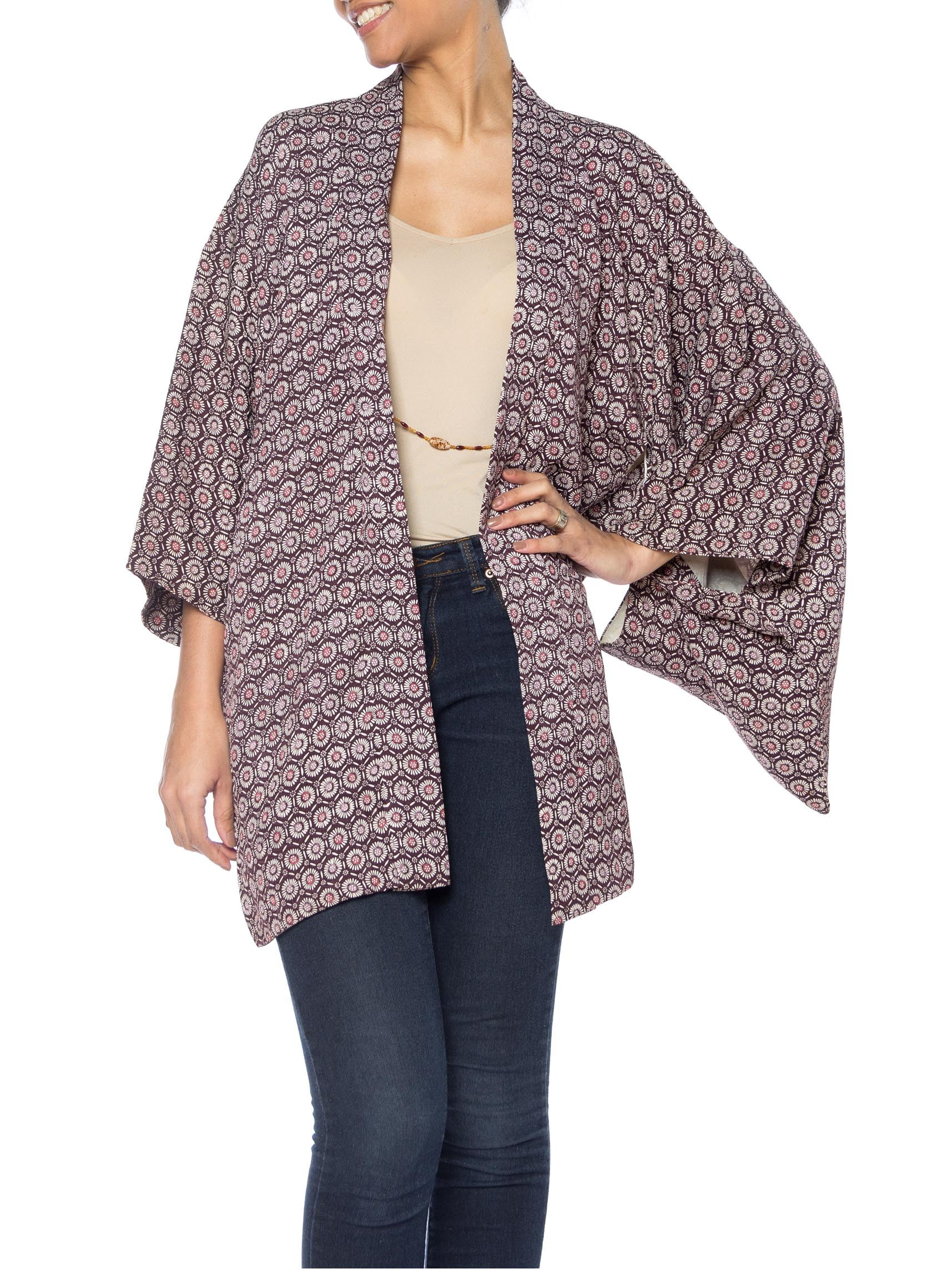 Purple and White Floral and Geometric Print Kimono