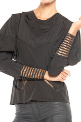 1930S Black Silk Couture Art Deco Blouse With Medieval Inspired Sleeves