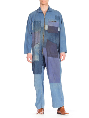 1960s Denim Patchwork Jumpsuit
