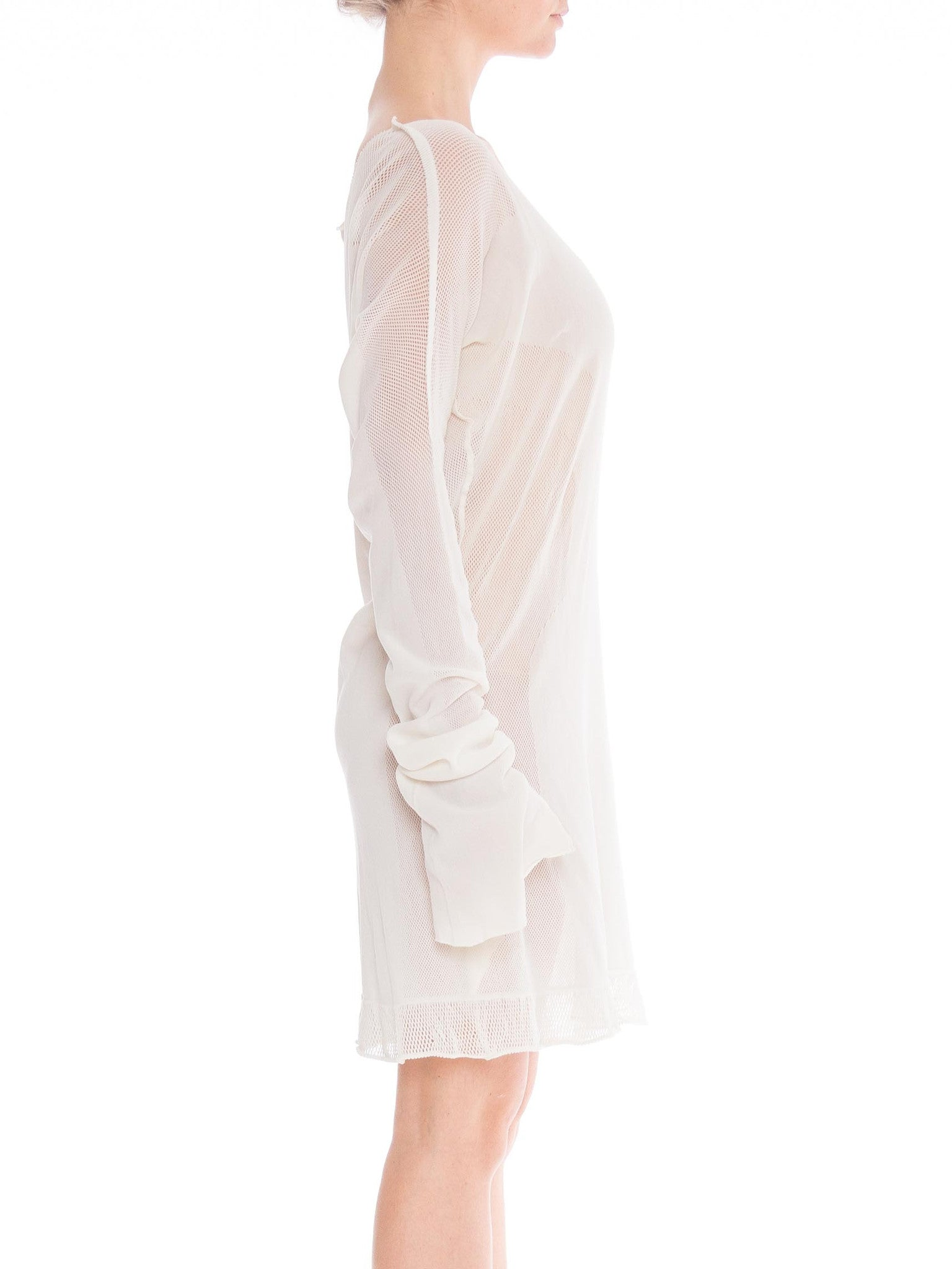 1990S  ISSEY MIYAKE White Cotton Engineered Mesh Circular Knit Dress With Pockets