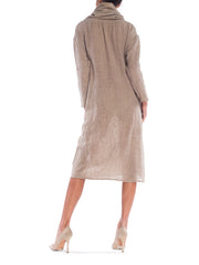Geoffrey Beene Bag Flax Burlap Cowlneck Distressed Sack Dress