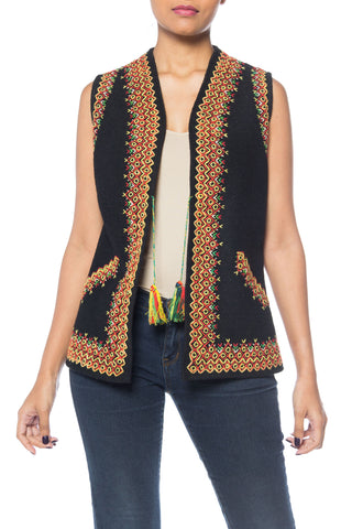Folk Embroidered Bohemian Felt Vest