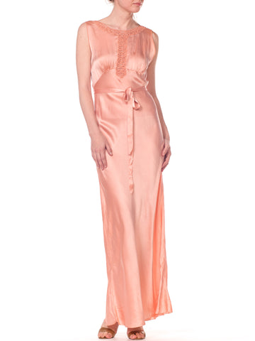 1930s Bias Cut Silk Blush Peach Pink Negligee Night Gown