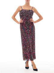 1970S Galanos Silk Chiffon Purple Paisley Empire Waist Sequin Beaded Gown