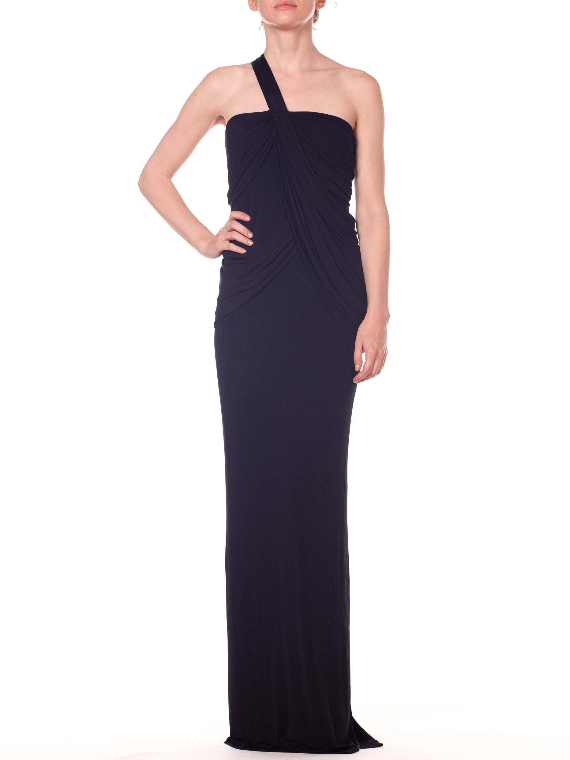 Slinky Jersey Knit Gown With Sheer Draped Details