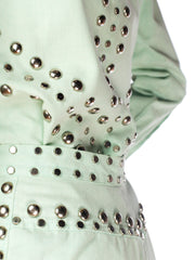 1970S Mint Green Cotton Denim Studded Two Piece Jacket And Jeans Pant Suit