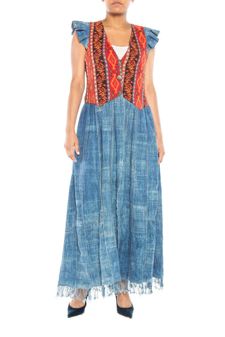 Morphew Lab Indigo And Woven Patterened Maxi Vest