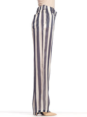 1990s Armani Crisp Nautical Striped Silk Trousers