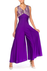1960s Lurex and Purple Polyester Palazzo Jumpsuit