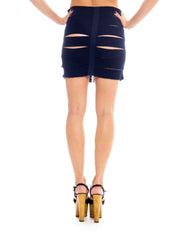 1980S Navy Cotton Elastic Knit Bandage Cutout Bodycon  Skirt With Exposed Hooks