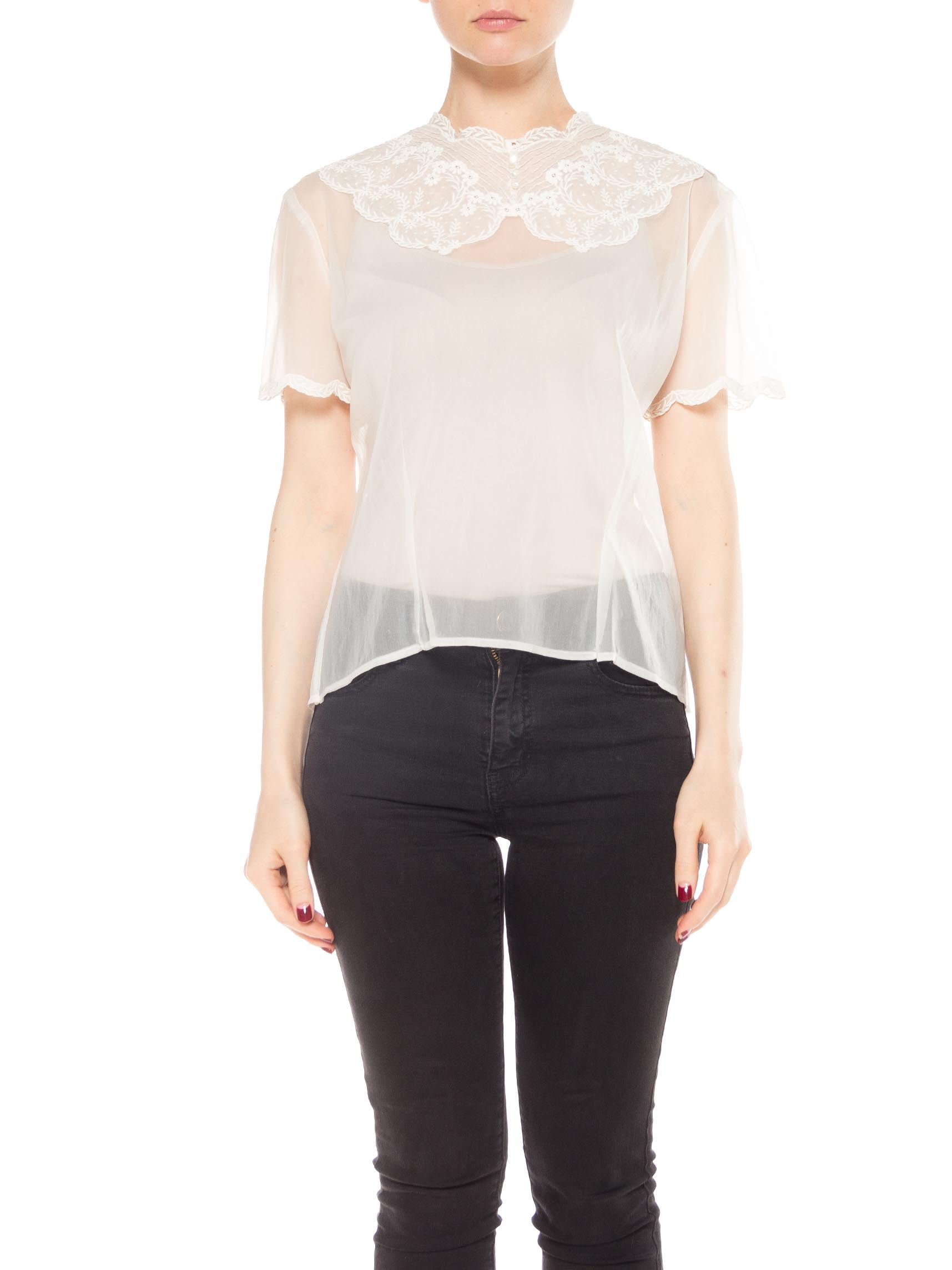 White Short Sleeve Nylon Top with Lace at Neck and Sleeves