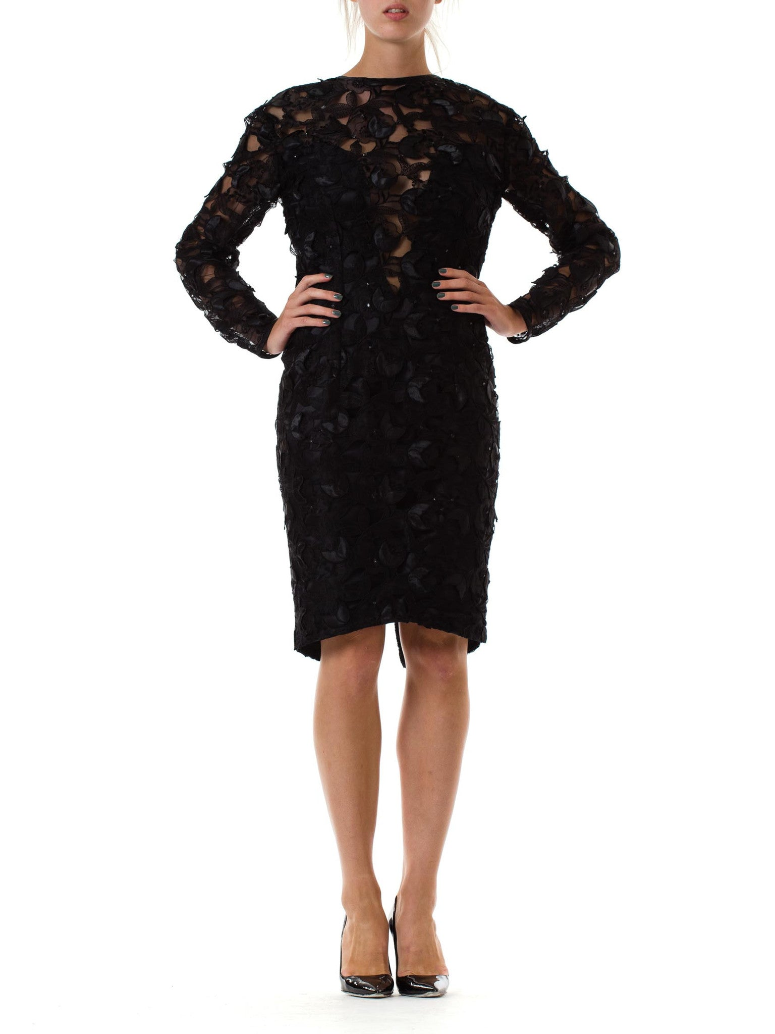 1980s Black Net and Lace Open Back Cocktail Dress with Rhinestones
