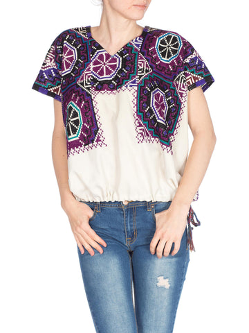 Hand Embroidred and Cross Stitched Boho Top With Drawstring Waist