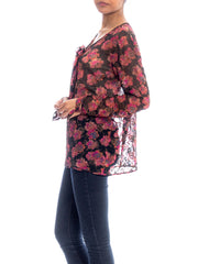 1920S Silk Chiffon Floral Print Lame Embroidered Blouse