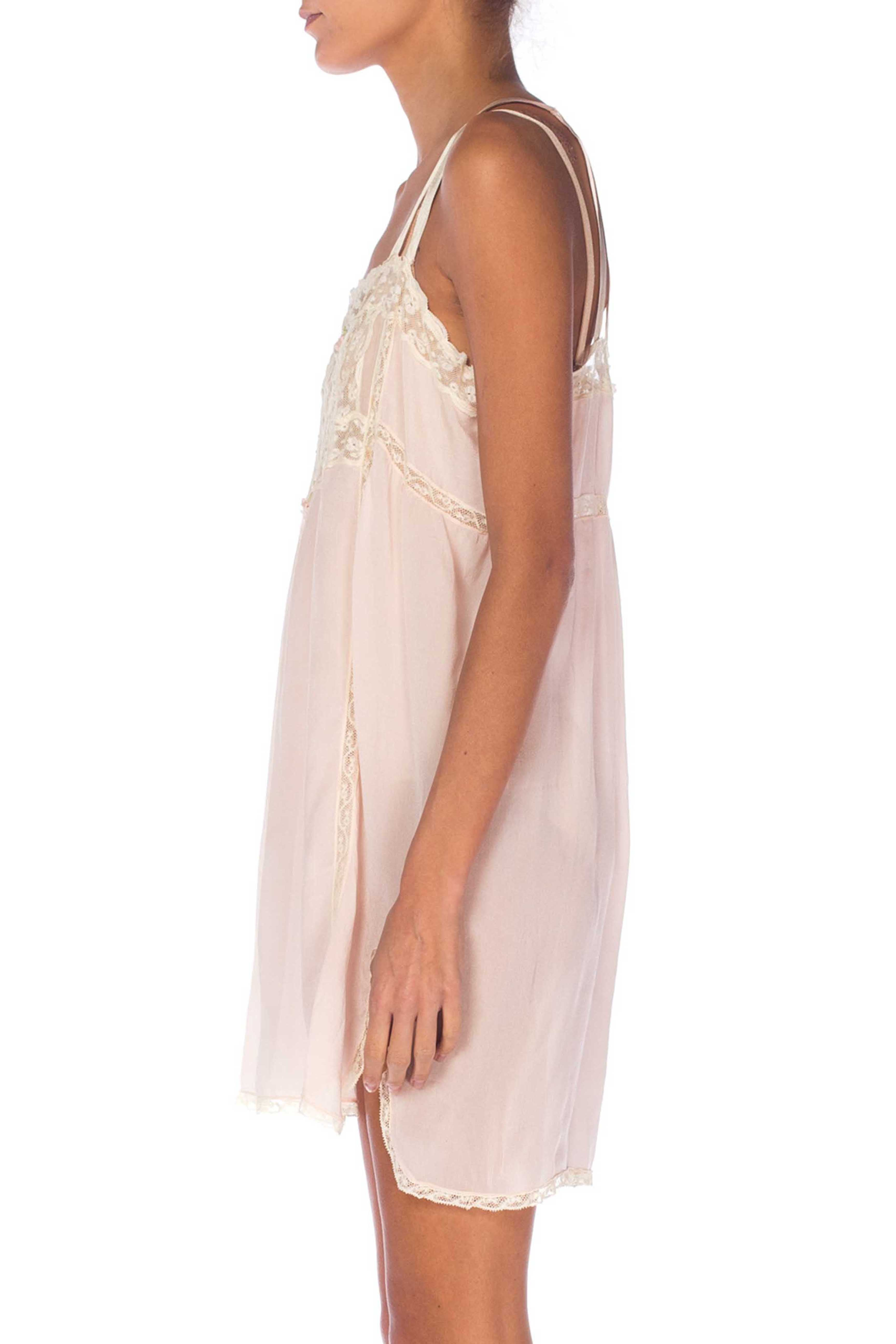 1920S Blush Pink Silk & Lace Negligee Slip Dress With Ribbon Roses