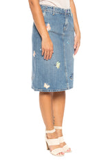 Denim Skirt With Butterfly Embroidery