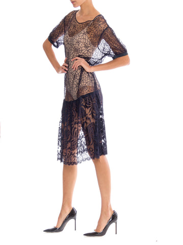 1920S Navy Blue Rayon & Silk Spider Web Lace Dress
