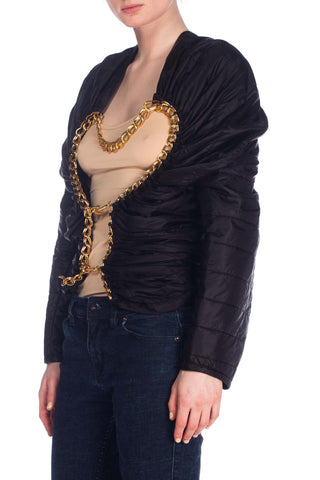 "2000S Junya Watanabe For Comme Des Garcons Black Nylon ""Chanel"" Collection Puffer Jacket With Gold Chain Closure, Nwt"