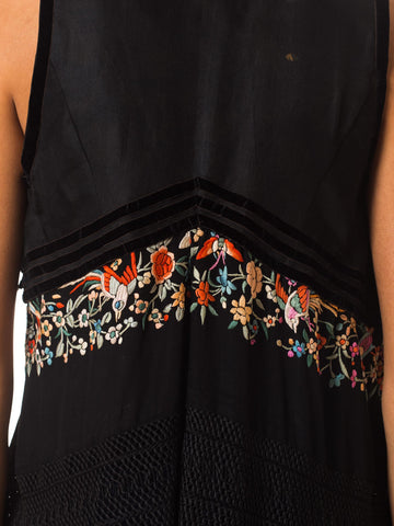 MORPHEW COLLECTION Black Silk Antique Vest With Chinese Embroidery & Hand-Knotted Fringe