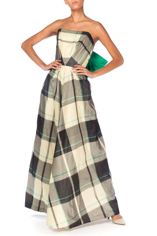 1940s Plaid Taffeta Strapless Gown