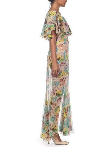 1930S Sheer Silk Chiffon Scribble Floral Printed Garden Party Dress With Double Capelet Sleeves