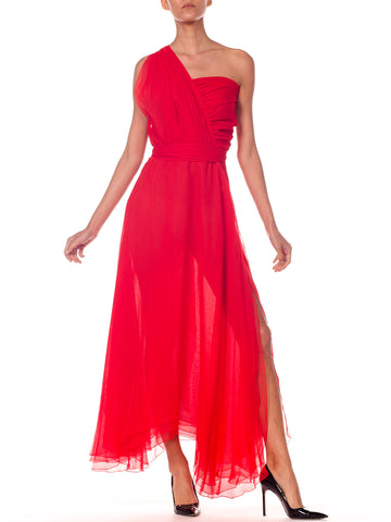 Stephen Burrows 1970s Draped Red Chiffon Dress with Slit