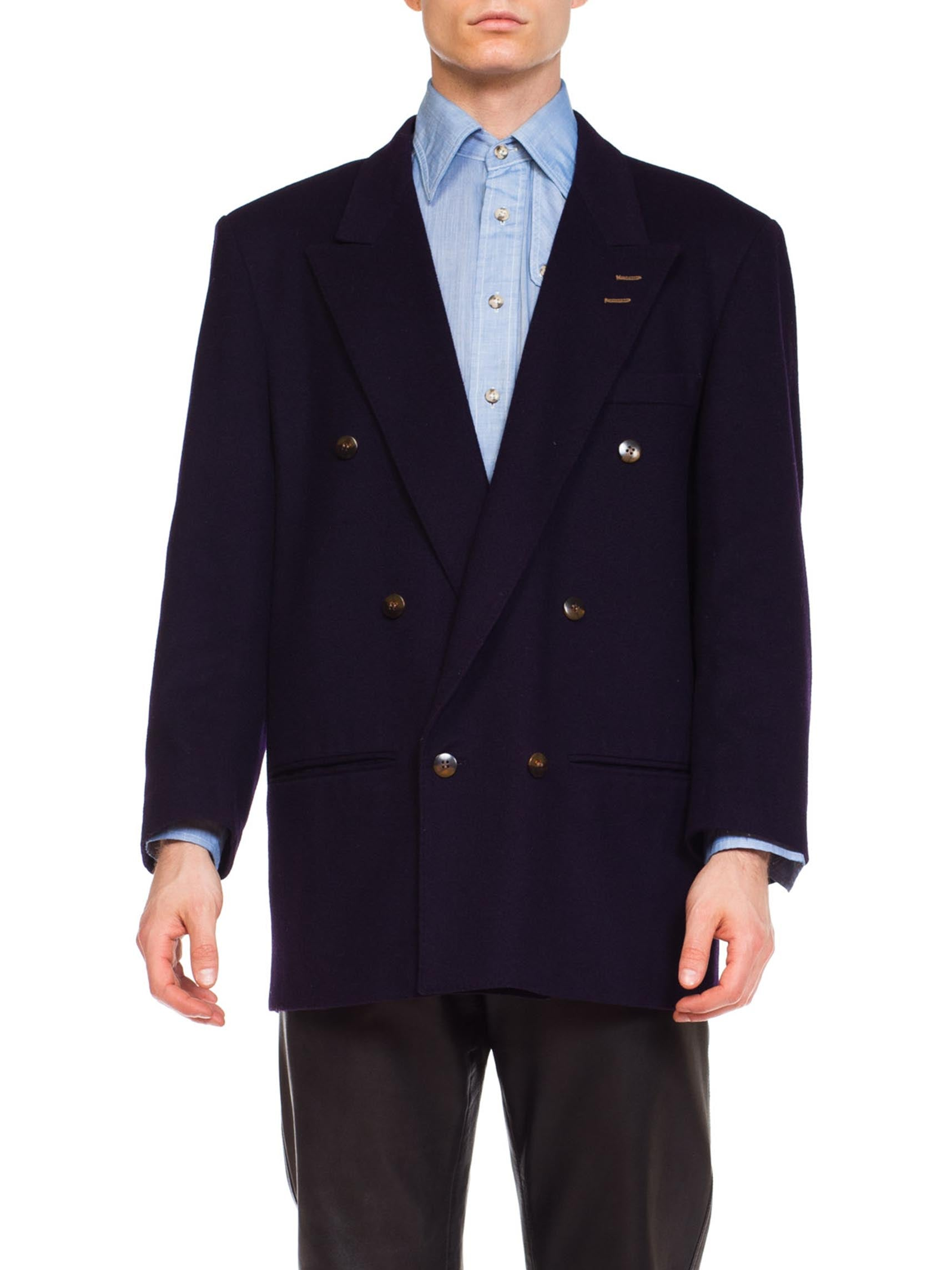 Navy Wool Mens Double Breasted Jacket